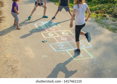 street children's games in classics. Selective focus. nature.