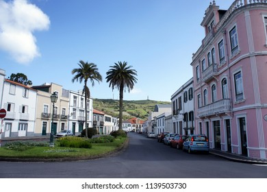 Street of the city of Horta on the island of Faial. Azores.