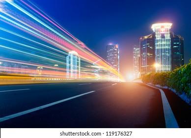 Street in city at night