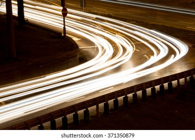 Street in a city at night;