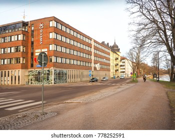 Street and cityscape near the river in winter season with white sky background, Karlstad, Sweden at 9 Feb 2016.