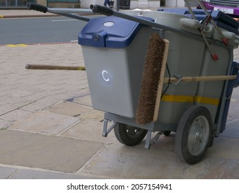 Street cleaning cart in city high street close up shot