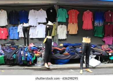 Street clothes shop in the market