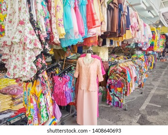 Street clothing market in Bangkok city, Thailand