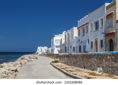 Street of coastal part of Mahdia town, Tunisia