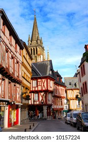 Street with colorful houses in a medieval city of Vannes, Brittany, France.