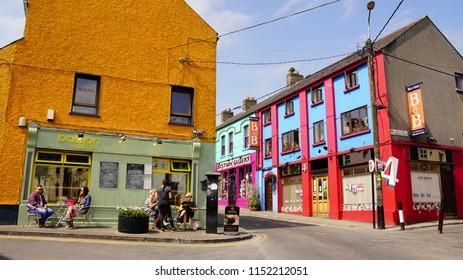 street corner in Athlone ireland with colorful cute buildings in June of 2018.