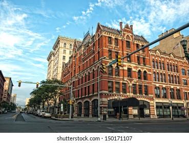 street corner in downtown syracuse, new york