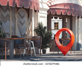 Street cozy restaurant with cherry chairs with red geotag or map pin. 3d rendering