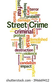 Street Crime, word cloud concept on white background.