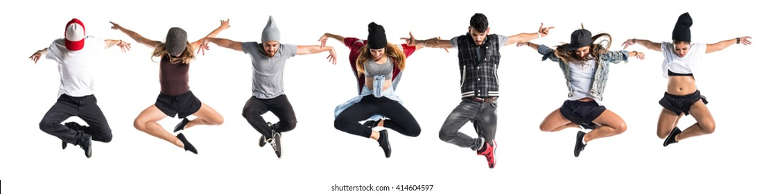 Street dance people jumping