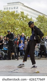 A street dance performer in London, England, on the 28th October 2009.