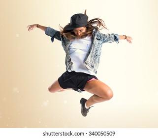 Street dance woman jumping