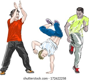 Street dancers on a white background. Raster version