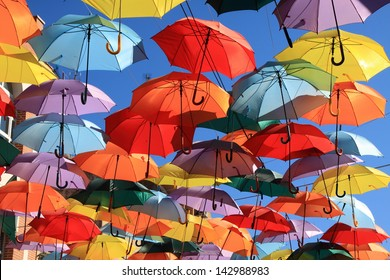 Street decorated with colored umbrellas, Madrid, Getafe, Spain