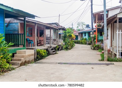 Street in Ell Castillo village at San Juan river, Nicaragua