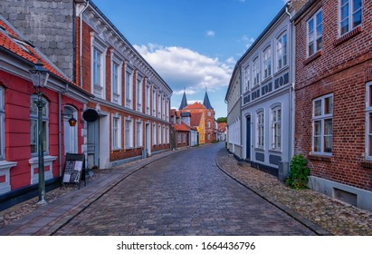 Rue de la célèbre ville médiévale de Ribe, Danemark