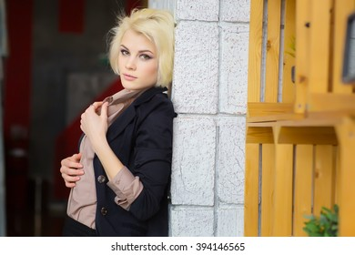 Woman Leaning On White Wall Images Stock Photos Vectors