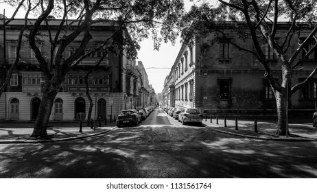 Street in Floriana Malta, perspective black and white street photography