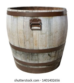 Street flowerpot for flowers made from old oak barrels. Isolated on white with patch