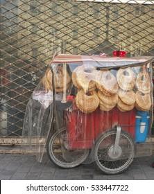 Street food cart serving middle eastern Kaak in Beirut