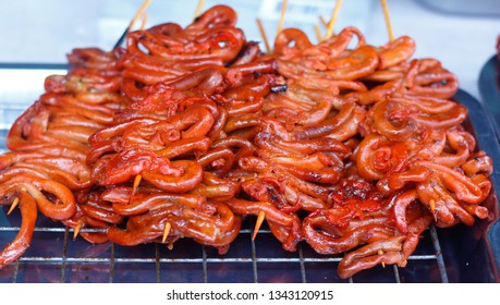 street food of chicken intestine