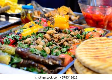 Street food, fried champignon mushrooms