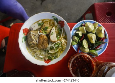 Street food - Grilled fish noodle in middle of Viet Nam
