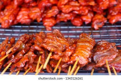 street food of grilled pork meat