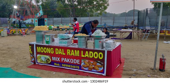 Street food items at Sector 29, Leisure Valley Ground, Gurgaon, India on Jan 2019