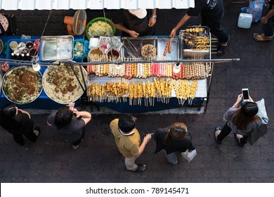 street food market ,thailand street food,Top view of a Thai street food