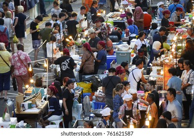 Street food market at Thalang Road in Phuket Town. Each Sunday at the end of the day a huge street food market takes place at Thalang Road till late in the night. April 30, 2017.