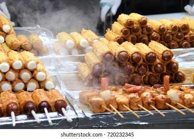 Street food in Myeongdong market at Seoul South Korea. Meat ball, fish ball and sausage