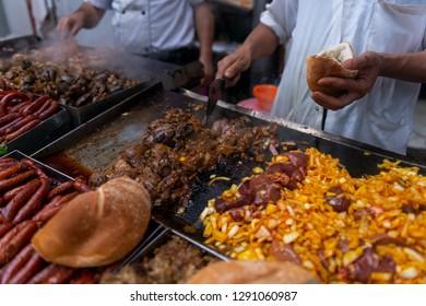 Street food on the market street in medina in Rabat, Morocco