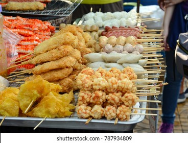 Street food for sale in market in Bangkok Thailand