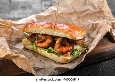 Street food sandwich with grilled shrimps
