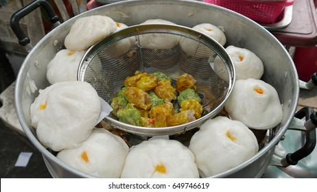 Street food, Siopao or steamed bun  Siopao or steamed bun stuffed with pork, chicken, or beef is a popular street food in Thailand and other countries in Southeast Asia.