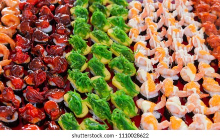 Street food in Thailand, Sushi Japanese food texture background,Food background.