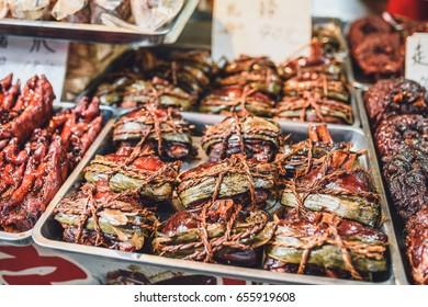 Street food in Zhujiajiao Ancient Town (called Shanghai Venice). Zhujiajiao is an ancient water town.