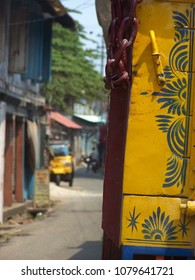 Street in Fort Kochi in South of India with Tuk Tuk