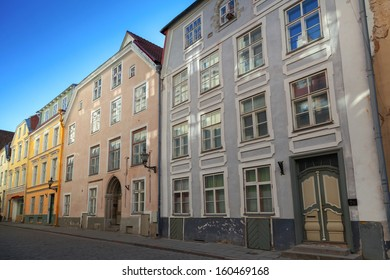 Street fragment of old Tallinn with colorful buildings facades