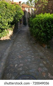 Street in french village of Castelnou in Pyrenees orientales, France