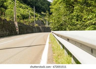 Street with guardrail in austria