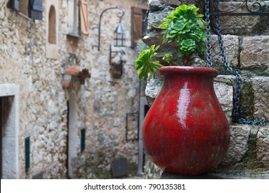 Street of the historic centre of Eze village in Provence, France