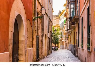 Street in the historic city center of Palma Majorca, Spain, Mediterranean Sea Island.