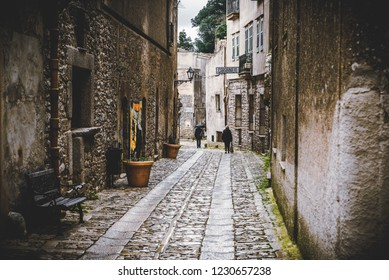 The street of historic Erice city in Sicily, Italy.