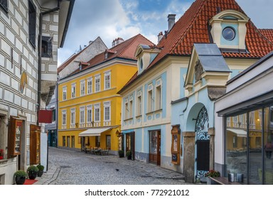 Street with historic houses in Cesky Krumlov city center, Czech republic