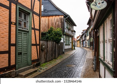 Street in the historic old town of Wernigerode (Harz/Germany) on a rainy day