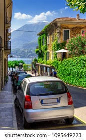Street in historical city of Bellagio, Como lake, Lombardy, Italy. Old archutecture with view of Como lake