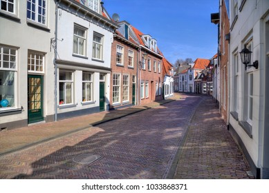 Street with historical houses in Amersfoort, Holland